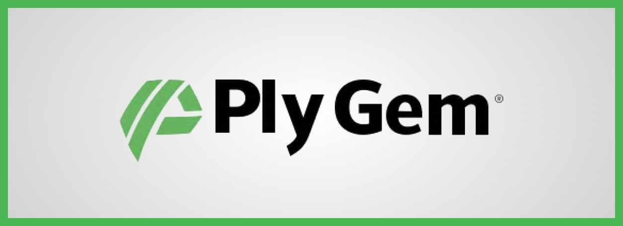 The Ply Gem logo on a light grey background