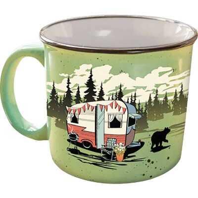Camp Casual 15 Oz. Beary Green Ceramic Coffee Mug